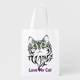 Sweet Face Kitty Reusable Grocery Bag