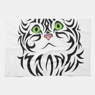 Sweet Face Striped Kitty Cat 2 Dish Towel