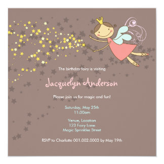 Sweet Fairy and Stars Birthday Photo Invitation