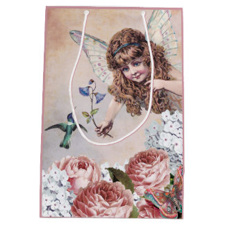 Sweet Fairy Greets Hummingbird Medium Gift Bag