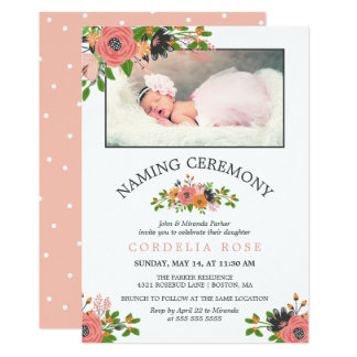 Sweet  Fall Flowers | Naming Ceremony Photo Card