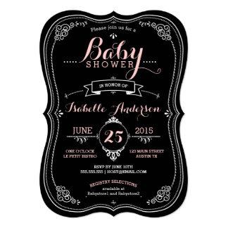 Sweet Fancy Chalkboard Baby Shower Girl Card