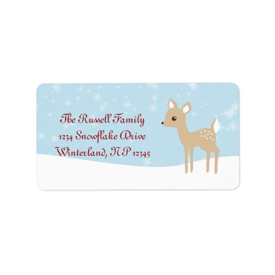 Sweet Fawn Winter Scene Address Label