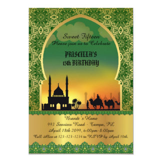 Sweet Fifteen, birthday, invitation, Arabian night 13 Cm X 18 Cm Invitation Card
