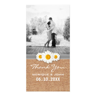 Sweet Floral and Faux Burlap Wedding Thank You Customised Photo Card