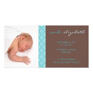 Sweet Floral Birth Announcement Photo Card-turq Photo Card