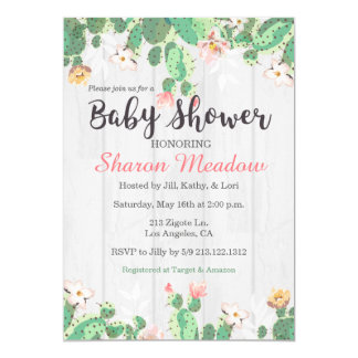 Sweet Floral Cactus Baby Shower Invitation