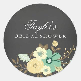 Sweet Floral Chalkboard Bridal Shower Sticker