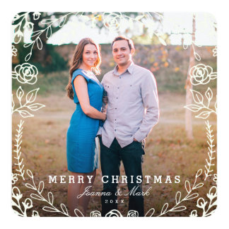 Sweet Floral Holiday Photo Card 13 Cm X 13 Cm Square Invitation Card