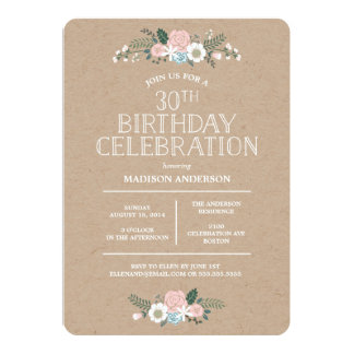Sweet Floral Kraft | Birthday Party Invitation