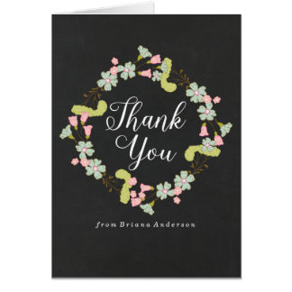 Sweet Floral Wreath | Baby Shower Thank You Card