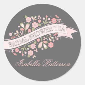 Sweet Flowers Bridal Shower Tea Party Sticker