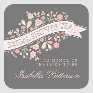 Sweet Flowers Bridal Shower Tea Party Sticker
