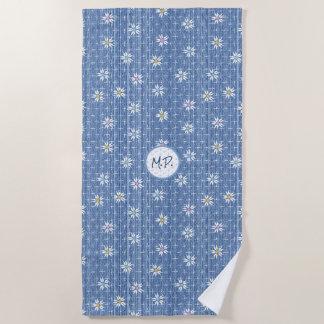 Sweet flowers on grainy blue denim look beach towel