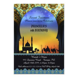 Sweet Fourteen birthday invitation, Arabian night 13 Cm X 18 Cm Invitation Card