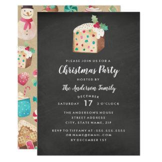 Sweet Fruitcake Chalkboard Christmas Party Card
