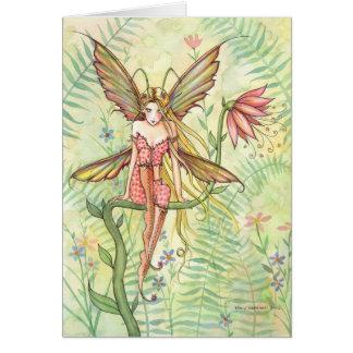 Sweet Garden Bug Flower Fairy Blank Card