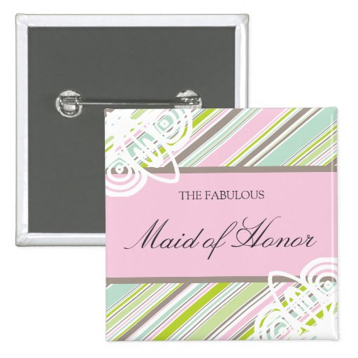 Sweet Garden Stripes Wedding Name Tag / Button