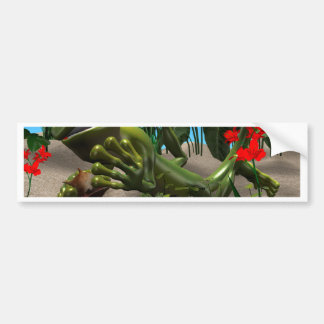 Sweet gecko is resting under the palm trees bumper sticker