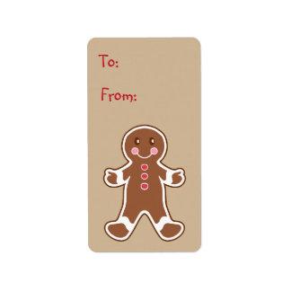 Sweet Gingerbread Boy Gift Tag Label Address Label