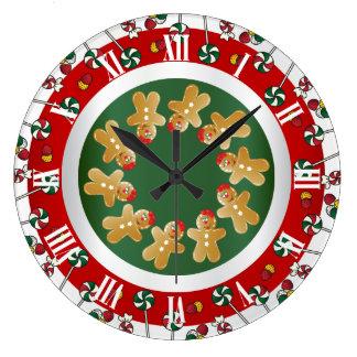 Sweet Gingerbread Christmas Large Clock