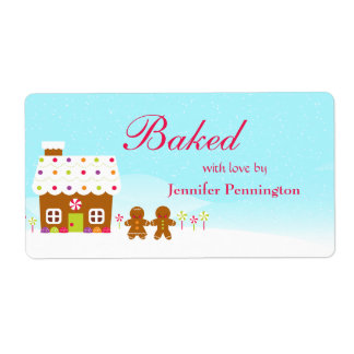 Sweet gingerbread house holiday baked by label shipping label