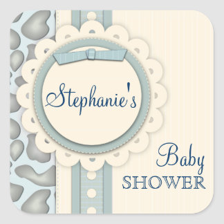 Sweet Giraffe Scrapbook Baby Shower Sticker | Blue