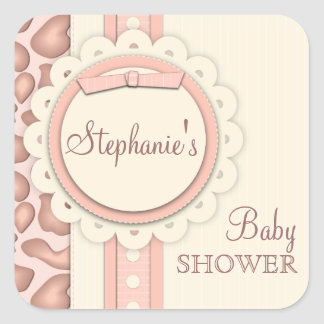 Sweet Giraffe Scrapbook Baby Shower Sticker | Pink