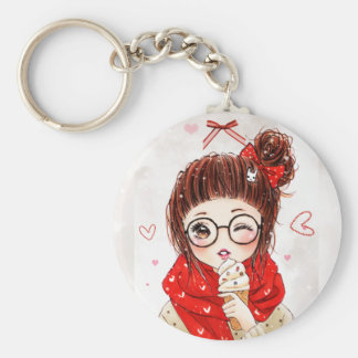Sweet girl and ice cream basic round button key ring