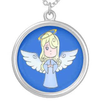Sweet Girl Angel Silver Plated Necklace