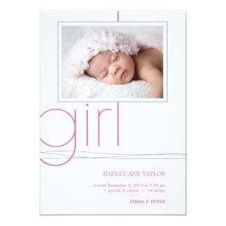 Sweet Girl Custom Photo Birth Announcement