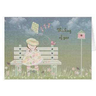 Sweet girl in springtime card