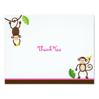 Sweet Girl Monkey Jungle Thank You Note Cards 11 Cm X 14 Cm Invitation Card