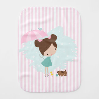 Sweet Girl with animals Baby Girl burp cloth