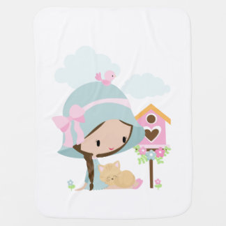 Sweet Girl with sleeping kitty baby blanket