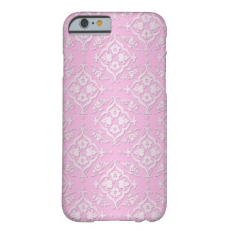 Sweet Girly Floral Damask Pattern in Pink Barely There iPhone 6 Case