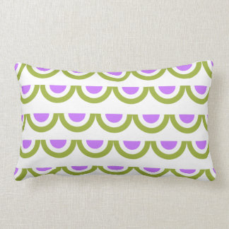 Sweet Green and Lavender Bunting on White Lumbar Cushion