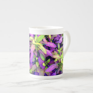 Sweet green and purple leaves tea cup