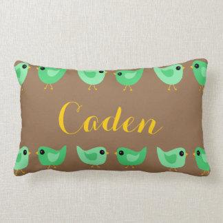Sweet green birds throw pillow