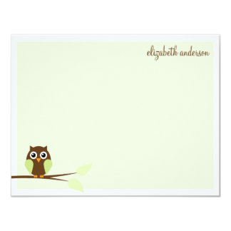 Sweet Green Owl Flat Thank You Cards