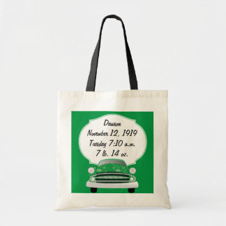 Sweet Green Retro Car Baby Boy Gifts Tote Bag