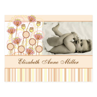 Sweet Groovy Blooms Baby Announcement Postcard