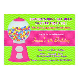 Sweet Gumball Candy Birthday Party Card