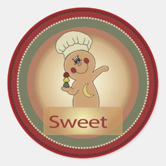 Sweet Gumdrop Gingerbread Man Round Stickers