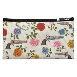 Sweet Guns and Roses Makeup Bag