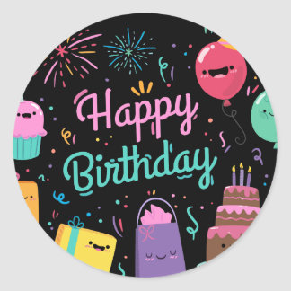 Sweet Happy birthday cartoon character cuties Round Sticker