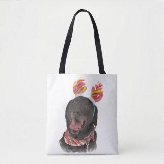 Sweet Happy Holiday Black Labrador Retriever Dog Tote Bag