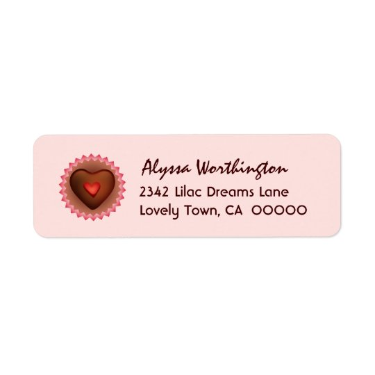 Sweet Heart Chocolate Candy A01 Return Address Label