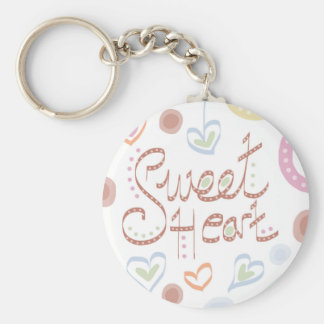 Sweet Heart. Pastel colourful text and print. Key Ring