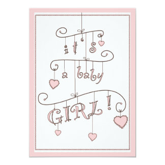 Sweet Heart Pink Baby Girl Mobile Baby Shower Card